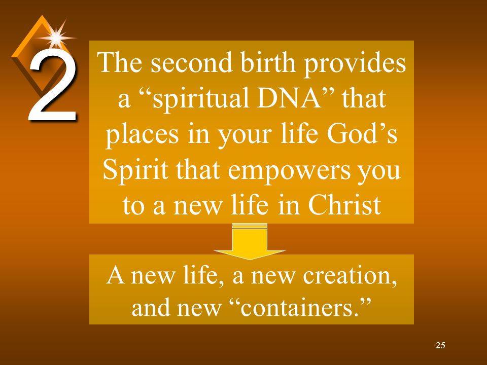 25 The second birth provides a spiritual DNA that places in your life God's Spirit that empowers you to a new life in Christ 2 A new life, a new creation, and new containers.