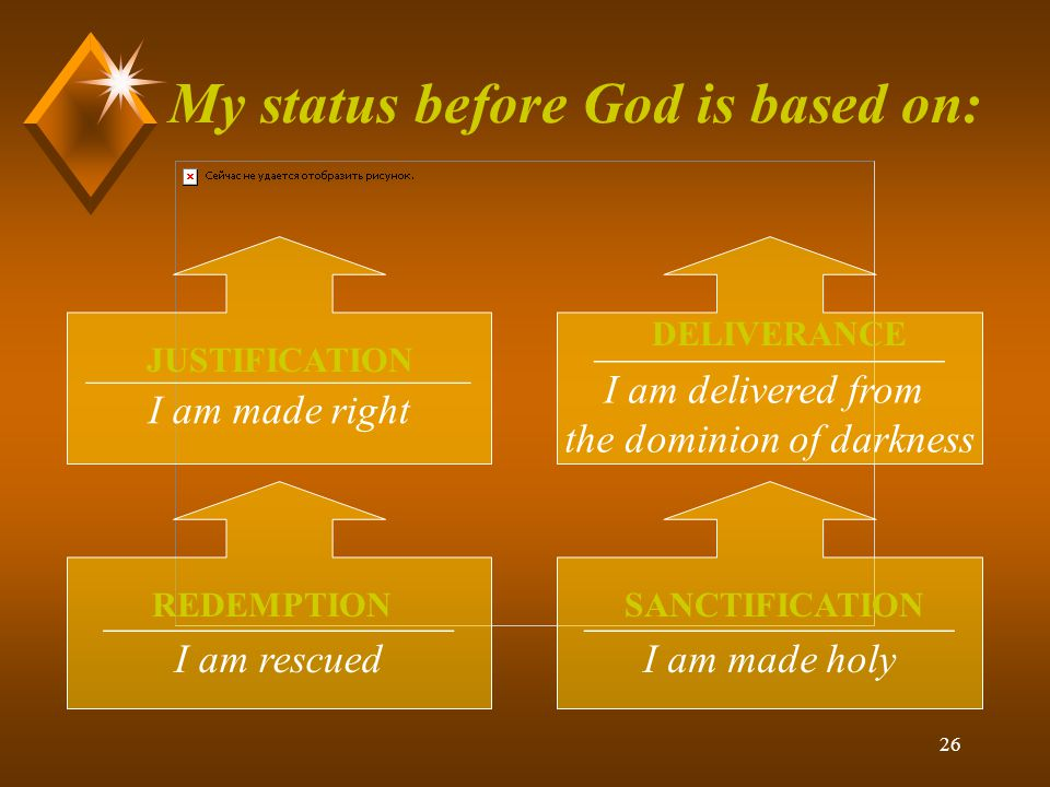 26 My status before God is based on: ______________________ I am made right _________________ I am rescued __________________ I am made holy _________________ I am delivered from the dominion of darkness JUSTIFICATION DELIVERANCE REDEMPTIONSANCTIFICATION
