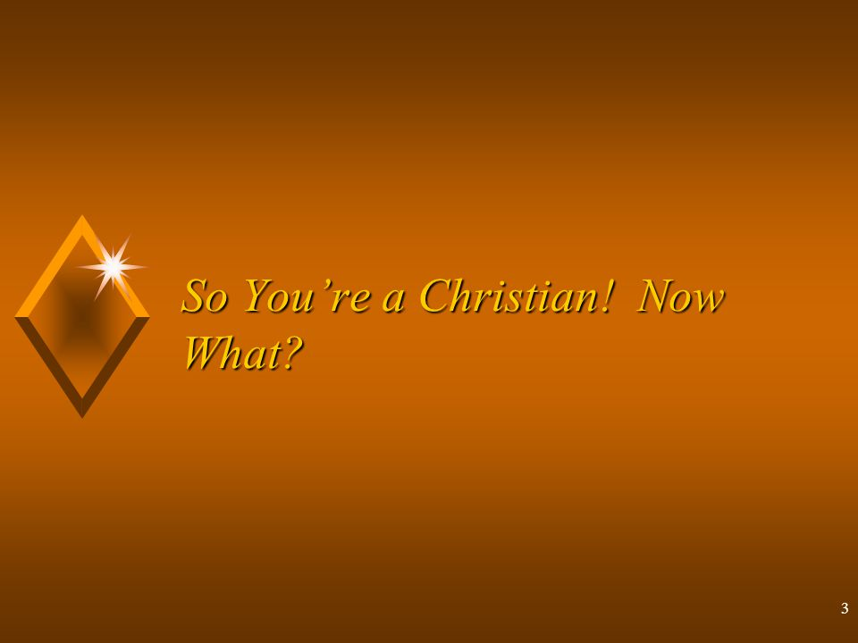 3 So You're a Christian! Now What