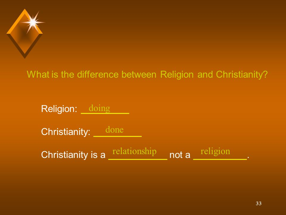 33 What is the difference between Religion and Christianity? Religion: _________ Christianity: _________ Christianity is a ___________ not a _________