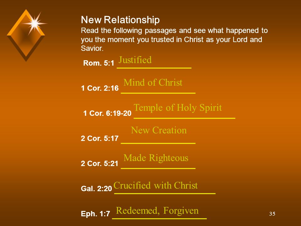 35 New Relationship Read the following passages and see what happened to you the moment you trusted in Christ as your Lord and Savior.