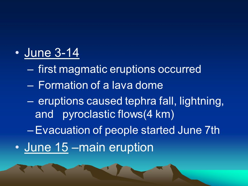 June 3-14 – first magmatic eruptions occurred – Formation of a lava dome – eruptions caused tephra fall, lightning, and pyroclastic flows(4 km) –Evacuation of people started June 7th June 15 –main eruption