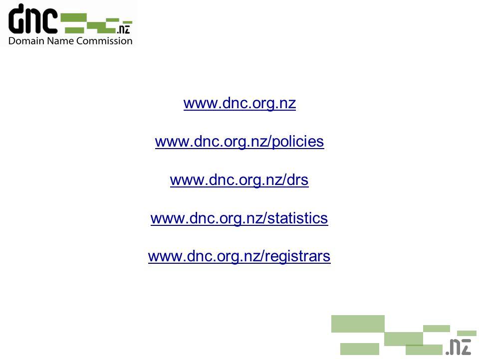 www.dnc.org.nz www.dnc.org.nz/policies www.dnc.org.nz/drs www.dnc.org.nz/statistics www.dnc.org.nz/registrars