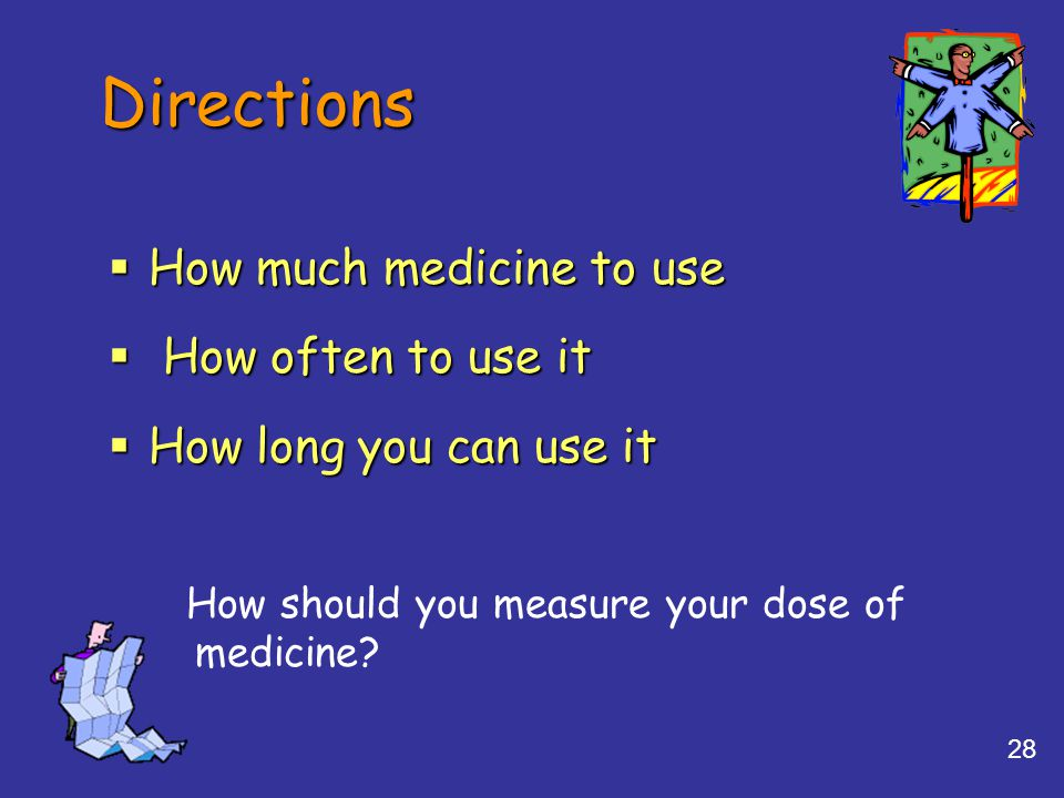 28 Directions  How much medicine to use  How often to use it  How long you can use it How should you measure your dose of medicine?