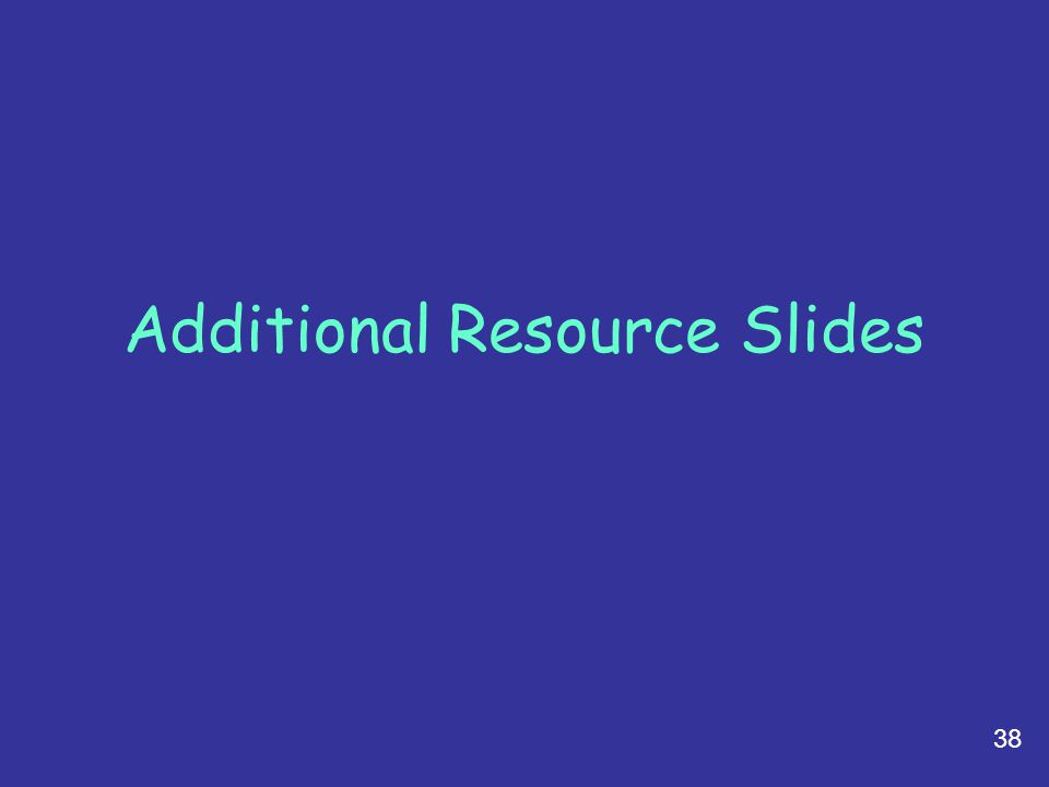 38 Additional Resource Slides