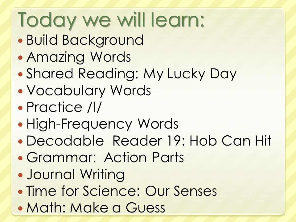 Today we will learn: Build Background Amazing Words Shared Reading: My Lucky Day Vocabulary Words Practice /l/ High-Frequency Words Decodable Reader 19: Hob Can Hit Grammar: Action Parts Journal Writing Time for Science: Our Senses Math: Make a Guess