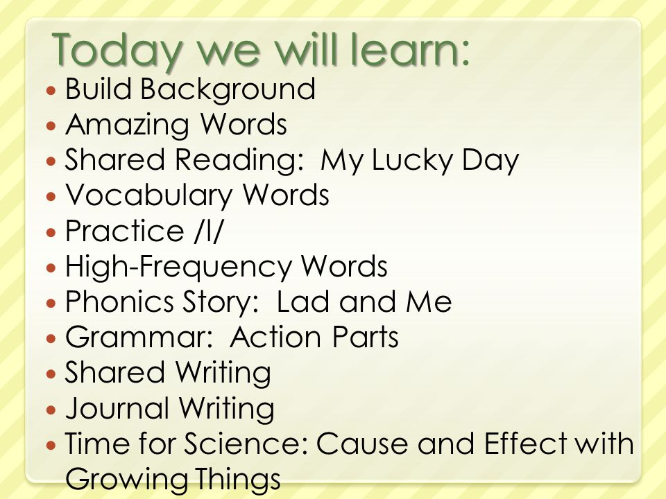 Today we will learn Today we will learn: Build Background Amazing Words Shared Reading: My Lucky Day Vocabulary Words Practice /l/ High-Frequency Words Phonics Story: Lad and Me Grammar: Action Parts Shared Writing Journal Writing Time for Science: Cause and Effect with Growing Things