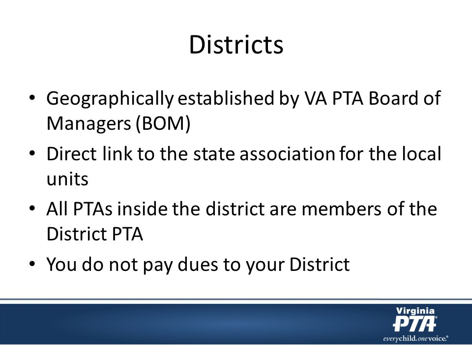 Districts Geographically established by VA PTA Board of Managers (BOM) Direct link to the state association for the local units All PTAs inside the di