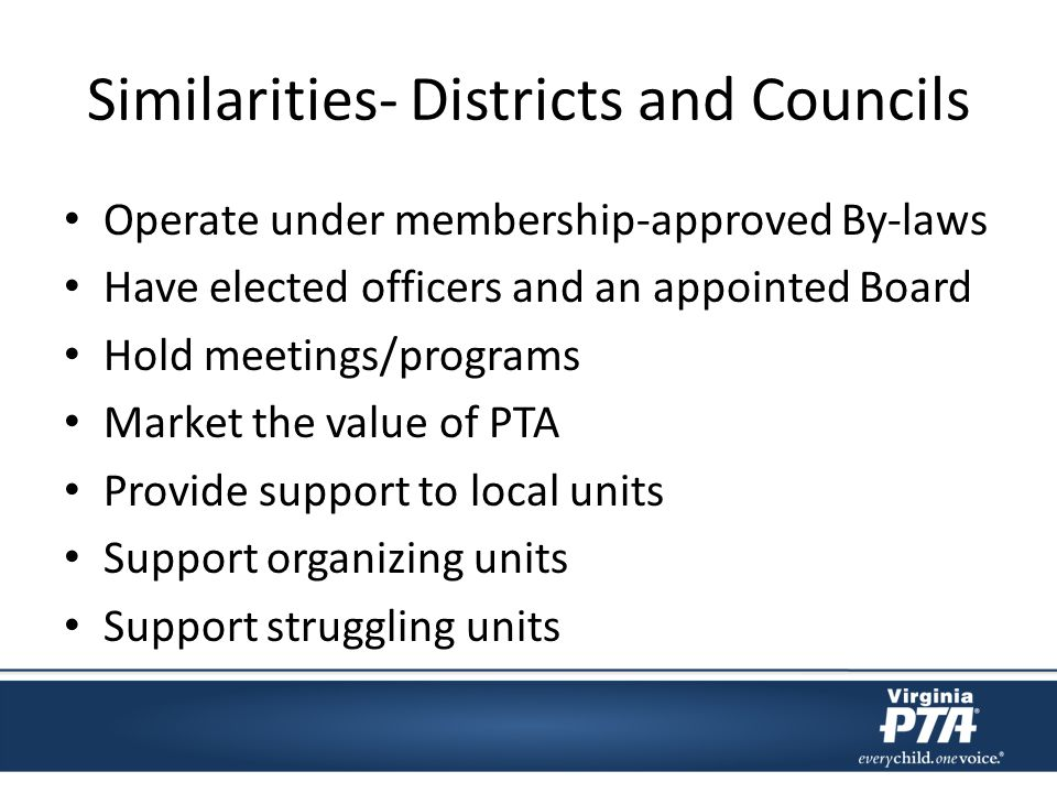 Responsibility of District Leadership and Training to local units Direct link from local units to state association Support Organizing units/councils Compliance – Status Reports from VA PTA Office – By-laws Revised – Dues Paid – 990/Audit