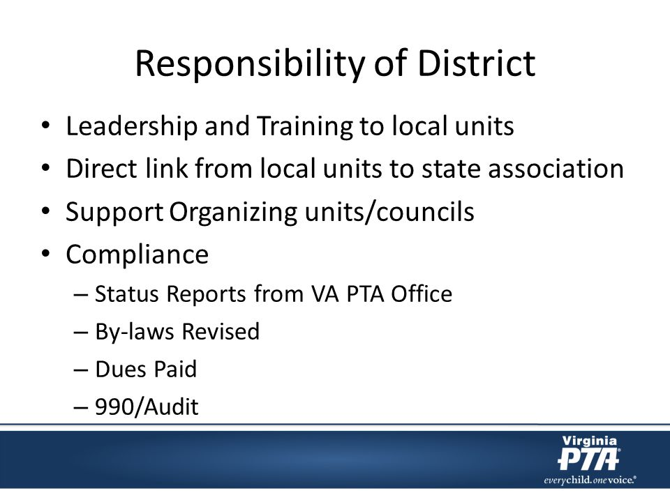 District Responsibilities: Organizing new units Update state about dissolving units Build future leadership