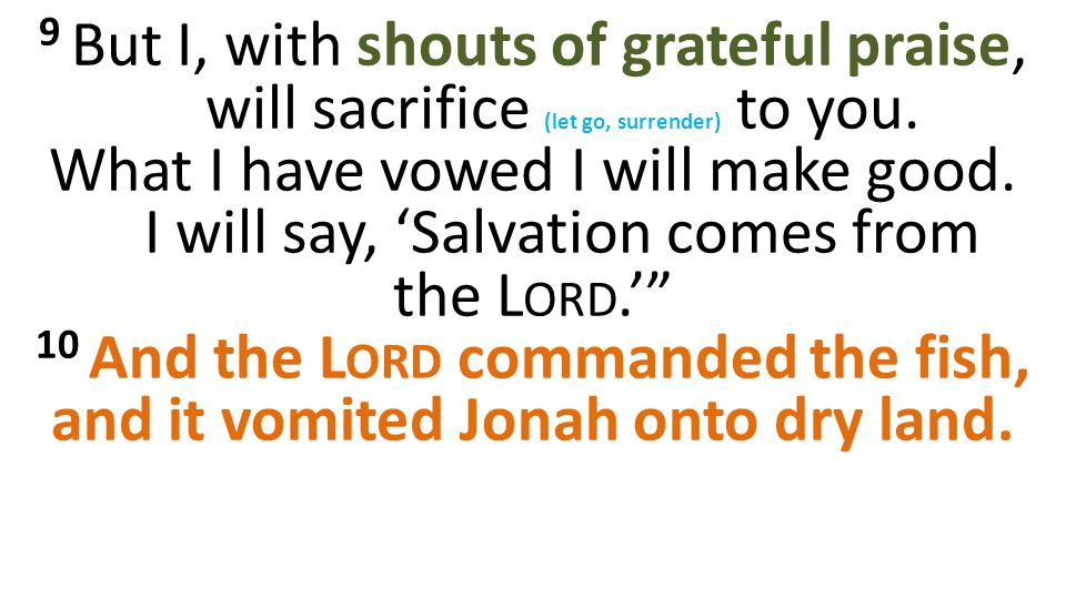 9 But I, with shouts of grateful praise, will sacrifice (let go, surrender) to you.