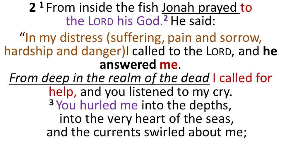 """2 1 From inside the fish Jonah prayed to the L ORD his God. 2 He said: """"In my distress (suffering, pain and sorrow, hardship and danger)I called to th"""
