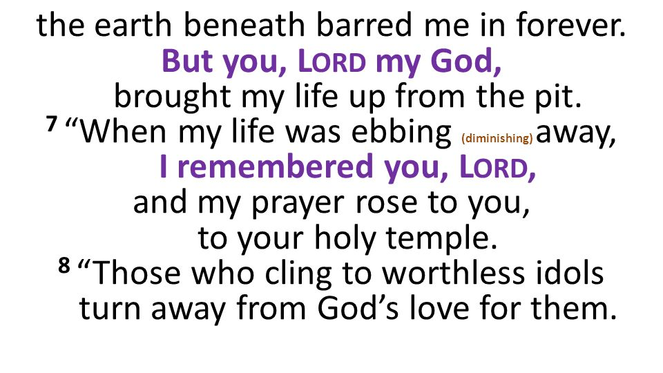 the earth beneath barred me in forever. But you, L ORD my God, brought my life up from the pit.