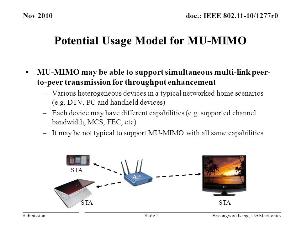 doc.: IEEE 802.11-10/1277r0 Submission Potential Usage Model for MU-MIMO MU-MIMO may be able to support simultaneous multi-link peer- to-peer transmission for throughput enhancement –Various heterogeneous devices in a typical networked home scenarios (e.g.