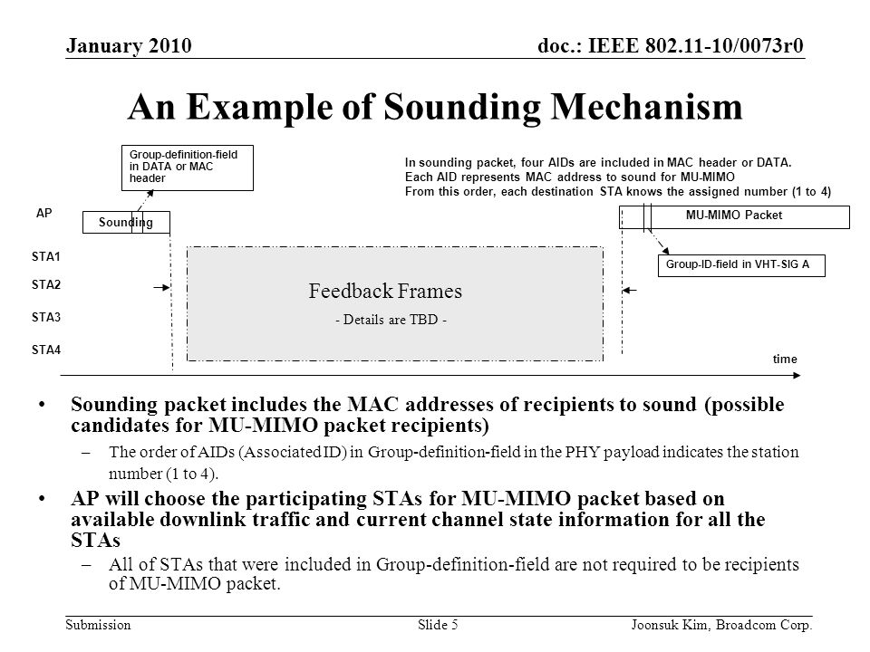 doc.: IEEE 802.11-10/0073r0 Submission January 2010 Joonsuk Kim, Broadcom Corp.Slide 6 Stream Number Indication in VHT-SIG A [1] VHT-SIG A tells the number of columns of Qk (steering matrix for user k) in the order of assigned user number in the sounding frame.