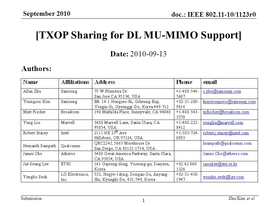 doc.: IEEE 802.11-10/1123r0 Submission September 2010 Zhu/Kim et al 2 Abstract A Multi-User Transmit Opportunity (MU-TXOP) mechanism (i.e.
