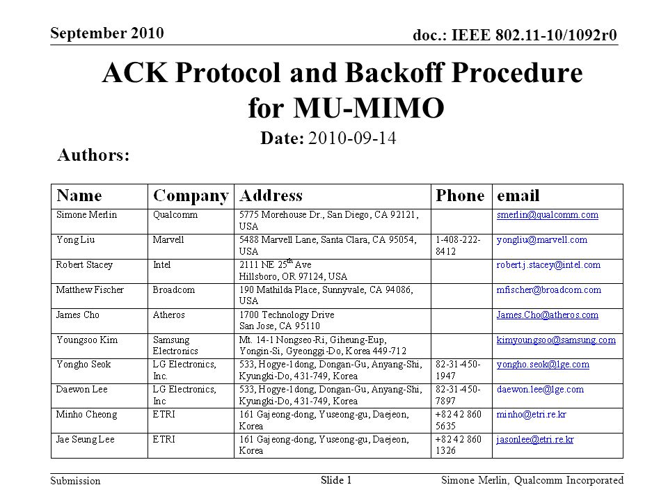 Slide 1 doc.: IEEE 802.11-10/1092r0 Submission Simone Merlin, Qualcomm Incorporated September 2010 Slide 1 ACK Protocol and Backoff Procedure for MU-MIMO Authors: Date: 2010-09-14
