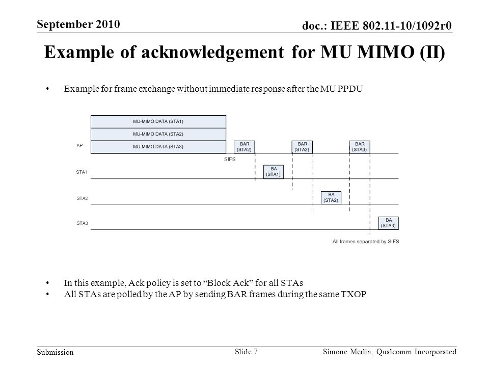 Slide 7 doc.: IEEE 802.11-10/1092r0 Submission Simone Merlin, Qualcomm Incorporated September 2010 Example of acknowledgement for MU MIMO (II) Example for frame exchange without immediate response after the MU PPDU In this example, Ack policy is set to Block Ack for all STAs All STAs are polled by the AP by sending BAR frames during the same TXOP