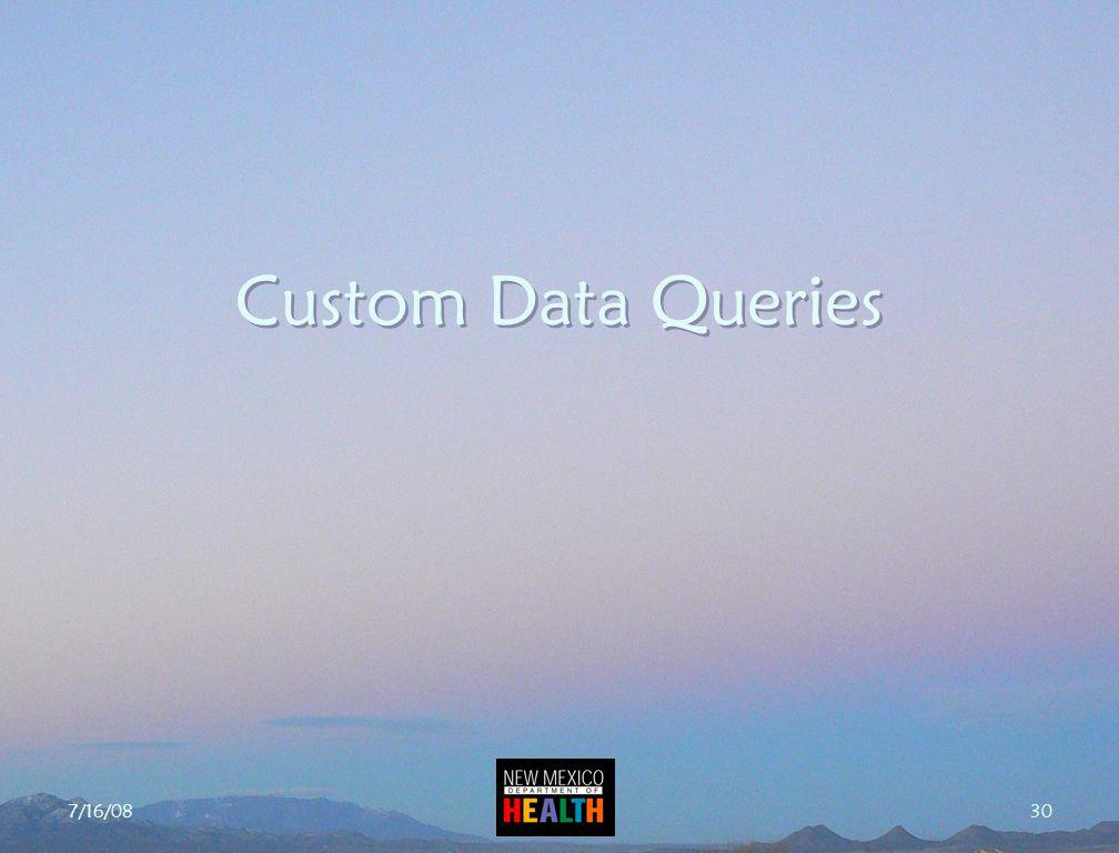 7/16/08 30 Custom Data Queries