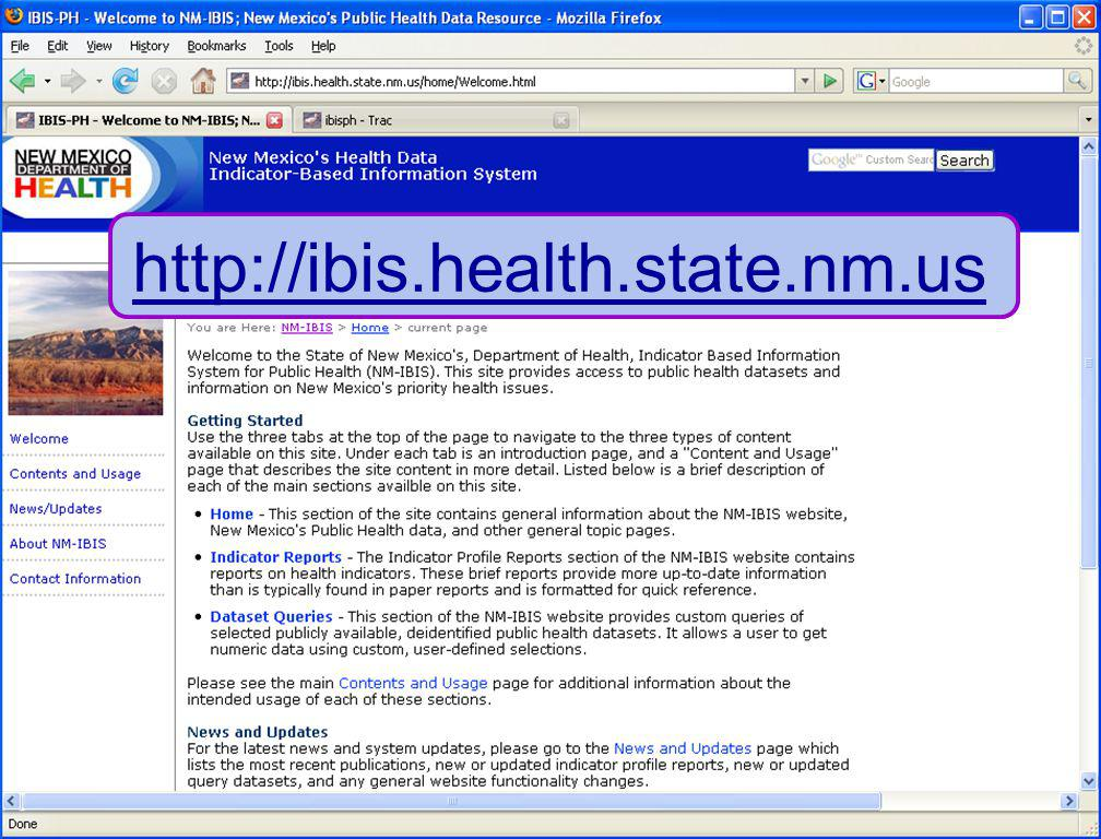 7/16/08 New Mexico Department of Health 8 http://ibis.health.state.nm.us