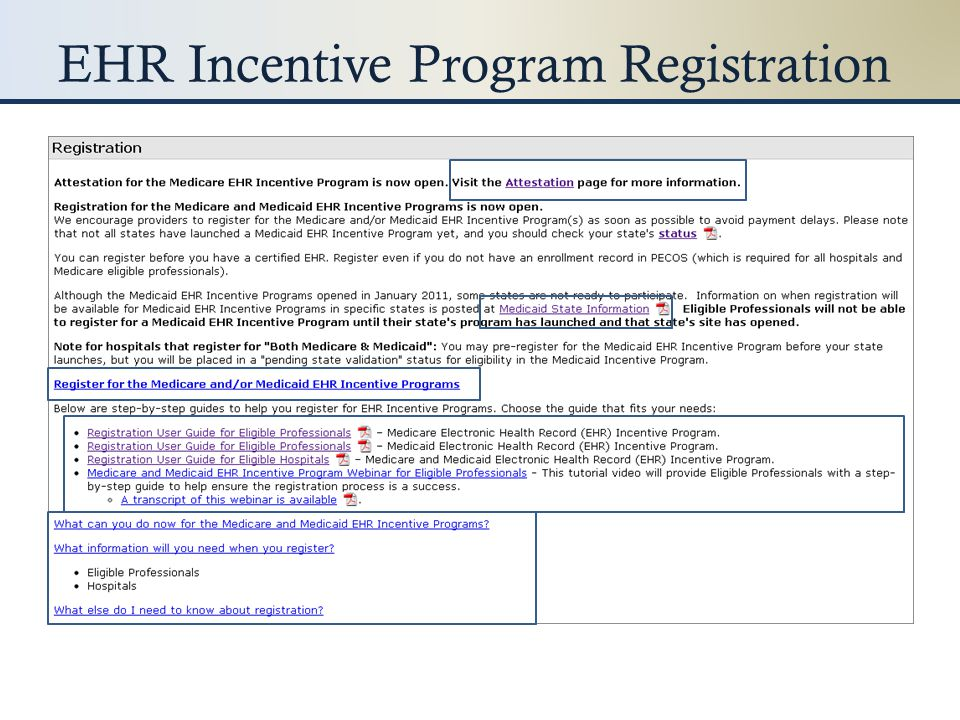 Medicare EPs: – Register with CMS Medicaid EPs: – Register with CMS – Register with state Medicaid program Hospitals: – Register as dual-eligible With CMS for Medicare With state Medicaid program for Medicaid Certified EHR is not required for registration!