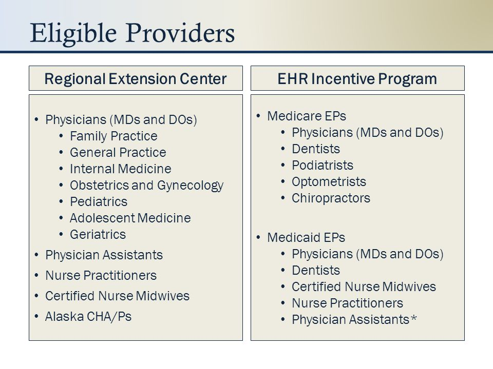 Provider Responsibilities Completing Milestone = REC Funding Demonstrating MU = Incentive Payment Register with CMS/State Achieve MU Attest/submit each year Sign up with REC Go live with certified EHR Achieve MU Regional Extension CenterEHR Incentive Program