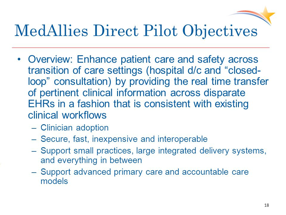 """MedAllies Direct Pilot Objectives Overview: Enhance patient care and safety across transition of care settings (hospital d/c and """"closed- loop"""" consul"""