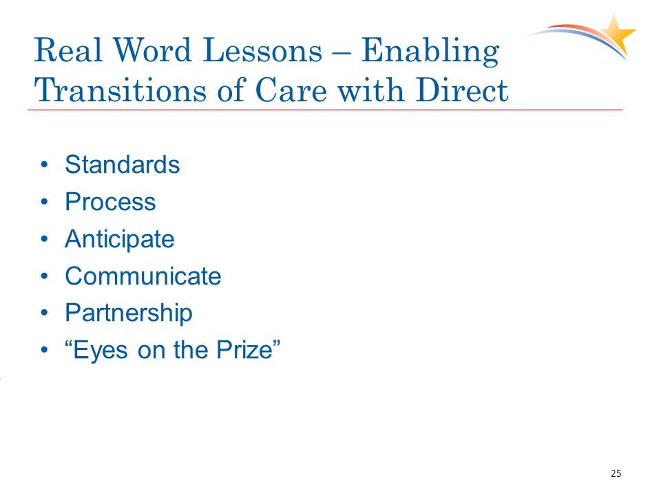 """Real Word Lessons – Enabling Transitions of Care with Direct Standards Process Anticipate Communicate Partnership """"Eyes on the Prize"""" 25"""