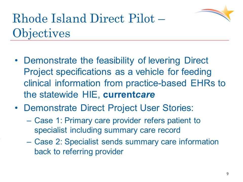 Rhode Island Direct Pilot – Objectives Demonstrate the feasibility of levering Direct Project specifications as a vehicle for feeding clinical informa