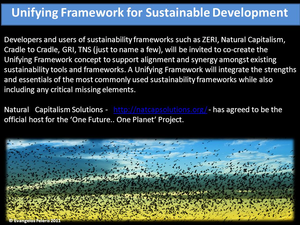 Developers and users of sustainability frameworks such as ZERI, Natural Capitalism, Cradle to Cradle, GRI, TNS (just to name a few), will be invited to co-create the Unifying Framework concept to support alignment and synergy amongst existing sustainability tools and frameworks.