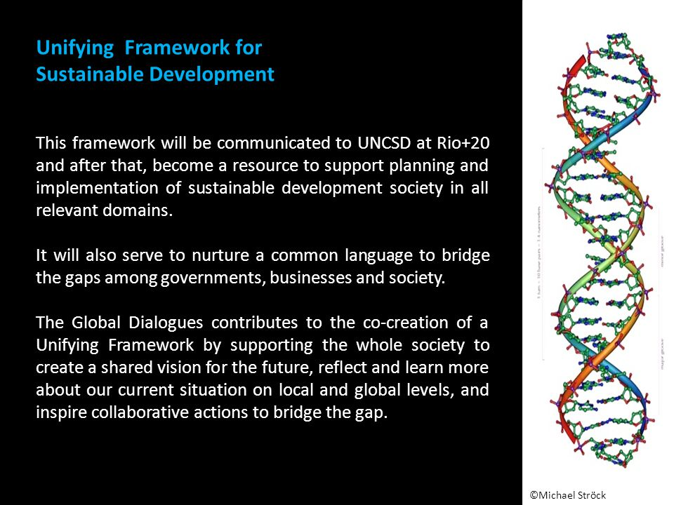 This framework will be communicated to UNCSD at Rio+20 and after that, become a resource to support planning and implementation of sustainable development society in all relevant domains.