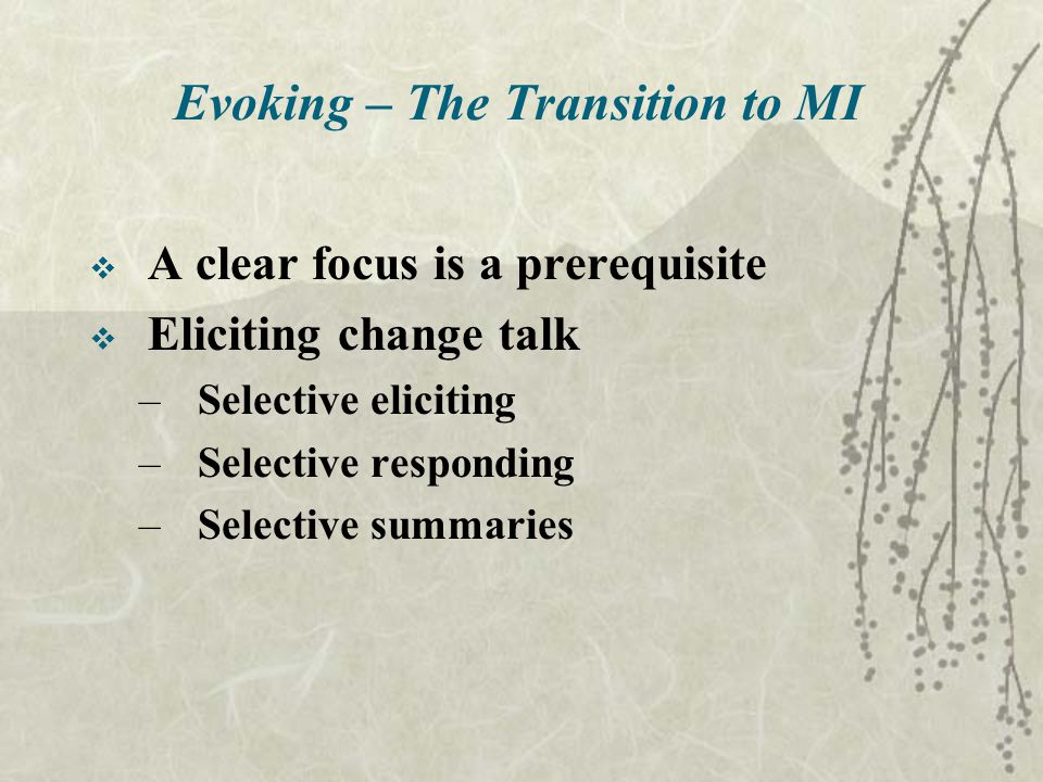 Evoking – The Transition to MI  A clear focus is a prerequisite  Eliciting change talk –Selective eliciting –Selective responding –Selective summaries