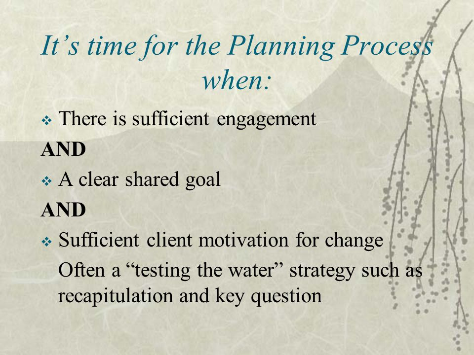 It's time for the Planning Process when:  There is sufficient engagement AND  A clear shared goal AND  Sufficient client motivation for change Often a testing the water strategy such as recapitulation and key question