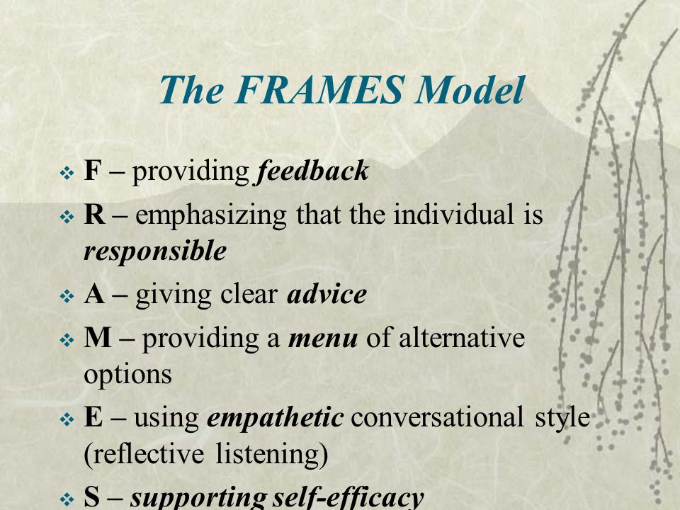 The FRAMES Model  F – providing feedback  R – emphasizing that the individual is responsible  A – giving clear advice  M – providing a menu of alternative options  E – using empathetic conversational style (reflective listening)  S – supporting self-efficacy