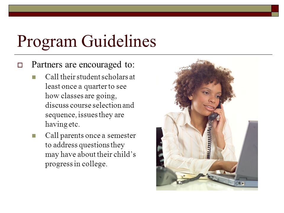 Program Guidelines  Partners are encouraged to: Provide high level recommendations for classes and encourage student scholars to see their academic advisor for advice requirements.