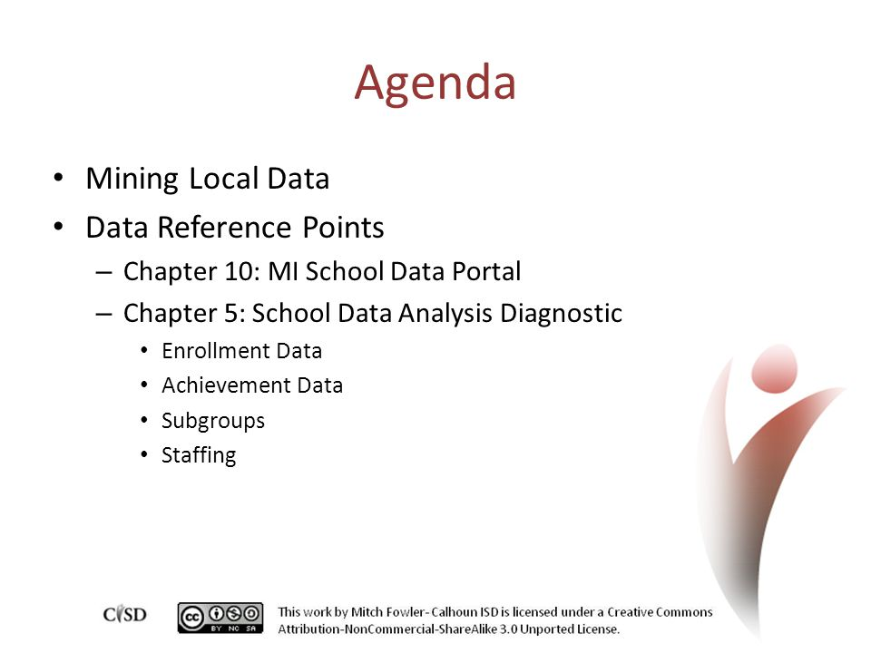 Agenda Mining Local Data Data Reference Points – Chapter 10: MI School Data Portal – Chapter 5: School Data Analysis Diagnostic Enrollment Data Achievement Data Subgroups Staffing