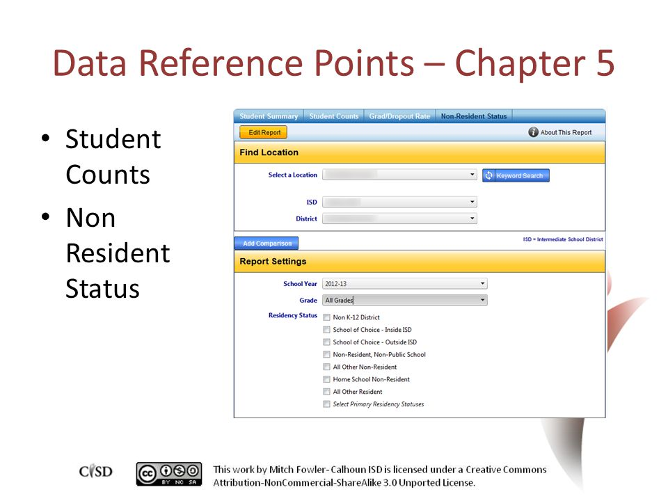 Data Reference Points – Chapter 5 Student Counts Non Resident Status