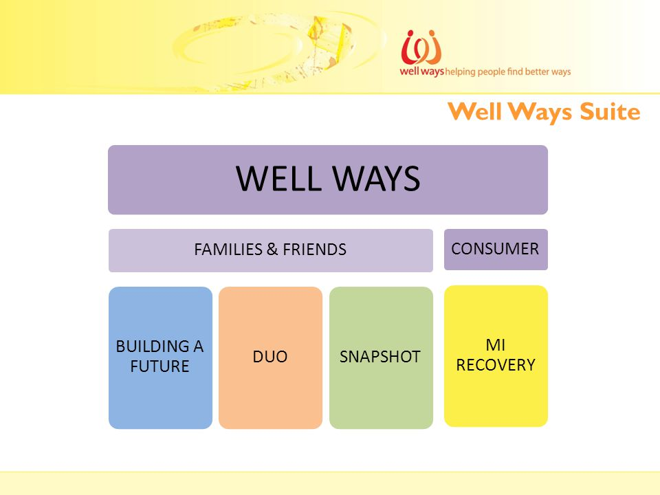 Well Ways Suite WELL WAYS FAMILIES & FRIENDS BUILDING A FUTURE DUOSNAPSHOT CONSUMER MI RECOVERY