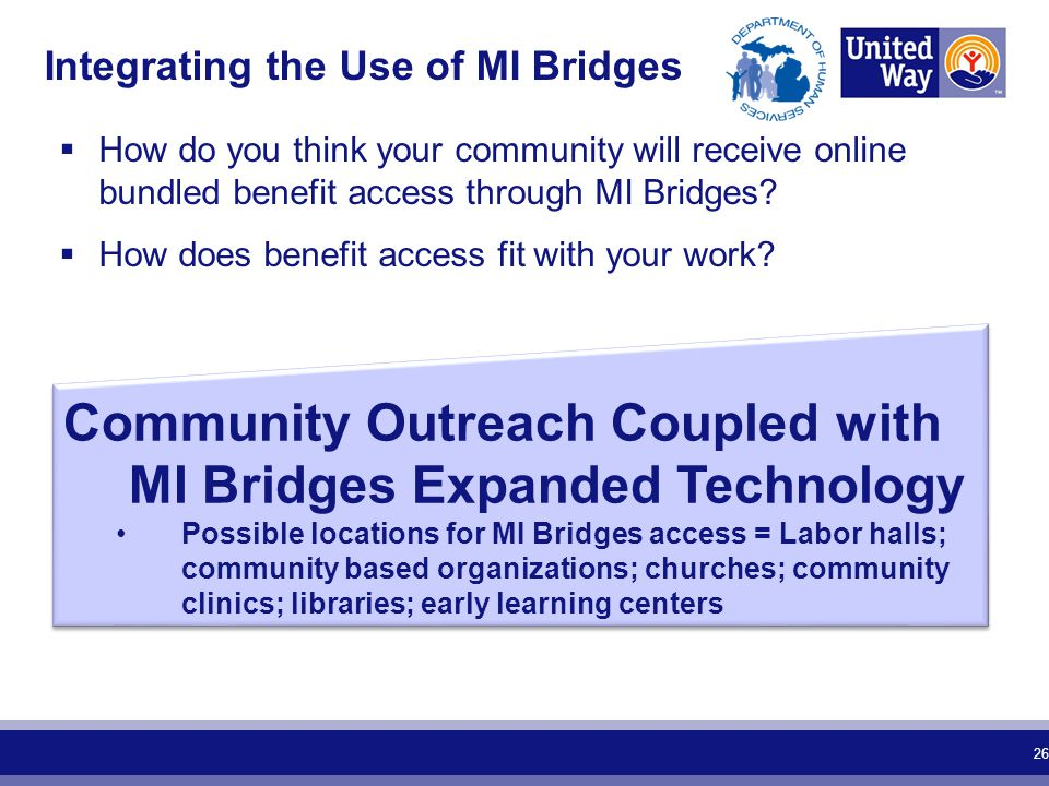  How do you think your community will receive online bundled benefit access through MI Bridges?  How does benefit access fit with your work? Integra
