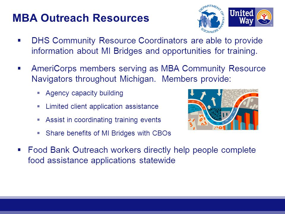  DHS Community Resource Coordinators are able to provide information about MI Bridges and opportunities for training.  AmeriCorps members serving as