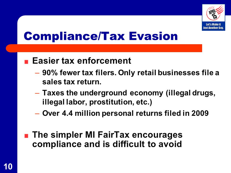 10 Compliance/Tax Evasion Easier tax enforcement –90% fewer tax filers. Only retail businesses file a sales tax return. –Taxes the underground economy