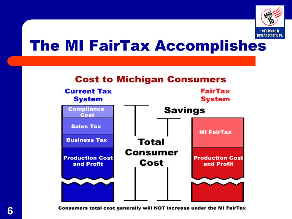 7 Special Provisions Prebate to all legal Michigan residents to pay tax on the necessities of life –MI FairTax is Progressive --- Households at the poverty level have a zero tax rate – As spending increases the effective tax rate increases –Effective Tax Rate for the typical MI family of four is 2.5% after prebate and untaxed items