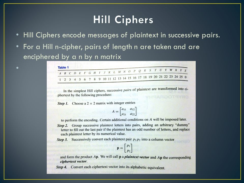 Hill Ciphers encode messages of plaintext in successive pairs.