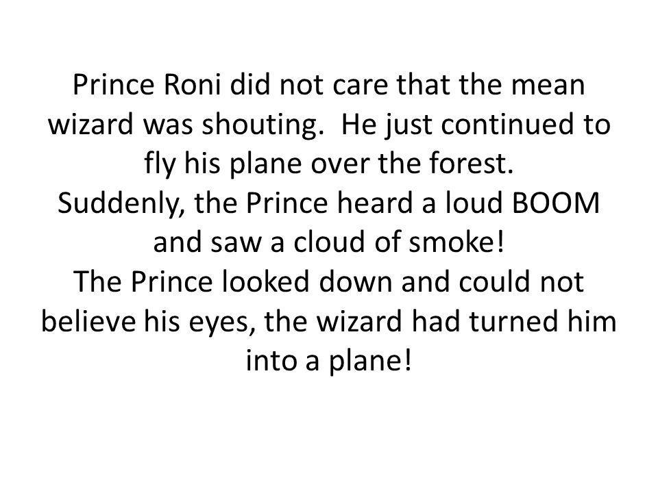 Prince Roni did not care that the mean wizard was shouting.