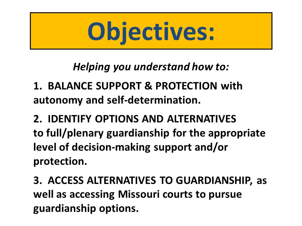 Depending upon your level of incapacitation or disability as determined above, the Court will then Order: The appointment of a Guardian or Conservator ad litem; The appointment of a Limited Guardian and/or Limited Conservator; or The appointment of a Full Guardian and/or Full Conservator.