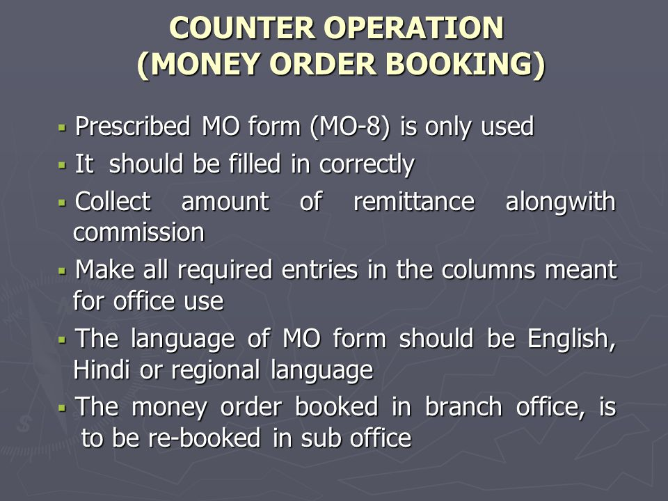 COUNTER OPERATION  In case of VP, two additional entries i.e.