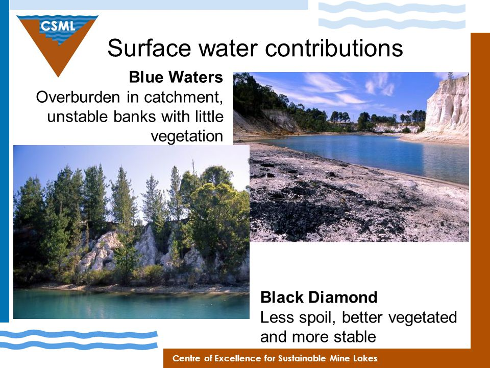 Centre of Excellence for Sustainable Mine Lakes Surface water contributions Blue Waters Overburden in catchment, unstable banks with little vegetation Black Diamond Less spoil, better vegetated and more stable