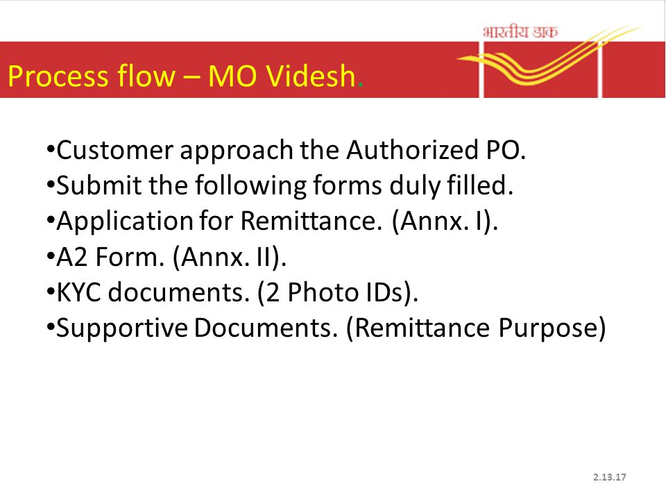 Process flow – MO Videsh. Customer approach the Authorized PO.
