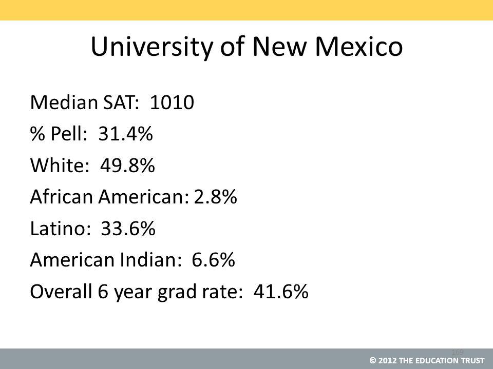 © 2012 THE EDUCATION TRUST University of New Mexico Median SAT: 1010 % Pell: 31.4% White: 49.8% African American: 2.8% Latino: 33.6% American Indian: 6.6% Overall 6 year grad rate: 41.6% 169