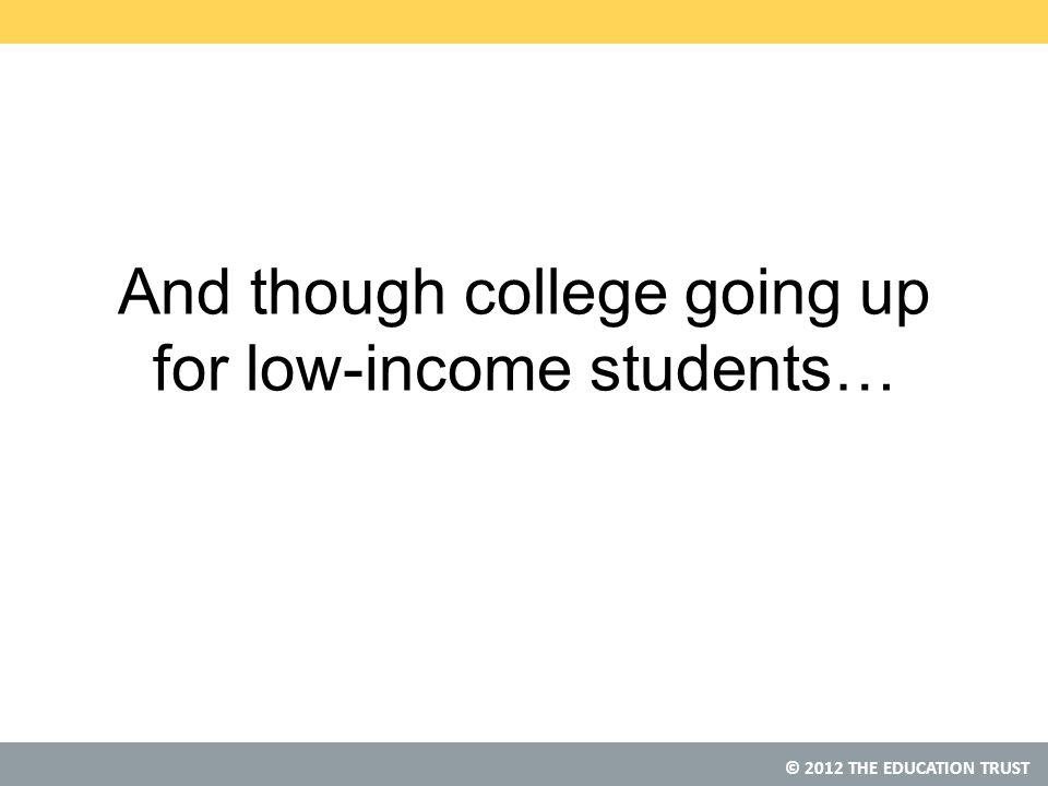 © 2012 THE EDUCATION TRUST And though college going up for low-income students…